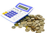 Thai coin, blue calculator isolated on white background — Stock Photo