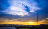 Sunset over the city, chiang rai province thailand  — Stock Photo