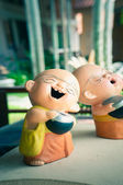 Smile monk doll statue in the home — Stock Photo