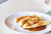 Baby corn Salad wite sesame sauce on white dish — Stock Photo
