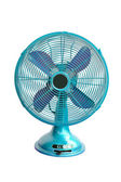 Vintage blue electric fan on white background — Stock Photo