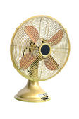 Vintage yellow electric fan on white background  — Stok fotoğraf