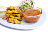 Grilled Pork Satay with Peanut Sauce and Vinegar. — Stock Photo