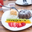 Chocolate Lava Cake with ice cream. — Stock Photo