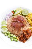 Fried rice with Shrimp paste. — Stock Photo