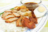 BBQ Pork, sausage, crispy pork over rice. — Stok fotoğraf