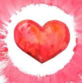 Watercolor Heart Red — Foto Stock
