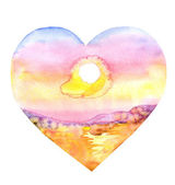 Watercolor Heart.Sea — Stock fotografie