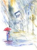 Rain in the city — Stock Photo