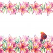 Lily Flowers and Bird Garland — Stock Photo #51634497