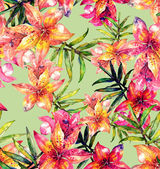 Lily flowers seamless pattern — Stock Photo
