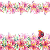 Lily Flowers and Bird Garland — Stock Photo