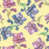 Purple Gladiolus seamless pattern — ストック写真