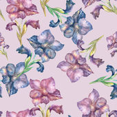 Purple Gladiolus seamless pattern — Stockfoto