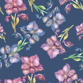 Purple Gladiolus seamless pattern — Stock Photo
