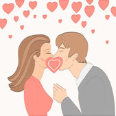 Kissing couple in love — Stock Vector