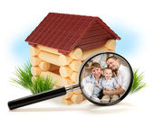 Familia feliz en casa de madera — Foto de Stock
