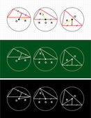 Planimetry. circle and triangle — Stock Photo