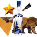 Russian symbolism. bear, star, balalaika, vodka — Stock Photo #42621869