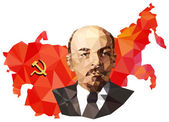 Soviet Union, USSR, map with flag, portrait of Lenin  — Stock Photo