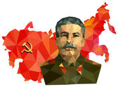 Soviet Union, USSR, map with flag, portrait of Stalin — Stock Photo