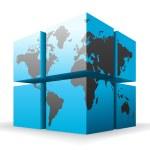 Cubes and world map. — Vecteur