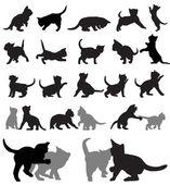 Kitten silhouettes — Stock Vector