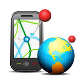 Cellphone and globe — Vector de stock