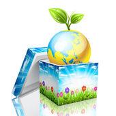 Globe as a gift.  — 图库矢量图片