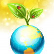 Globe and plant — Stock Vector