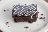 Chocolate Fudge Brownies with Chocolate Ganache and White Chocol — Stock Photo