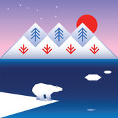 Northern landscape with a polar bear, mountains and sea — Cтоковый вектор