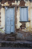 Weathered blue door — Stock Photo