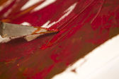 Oil colors mix with spatula — Stock Photo