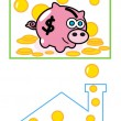 Pig money bank — Stock Vector