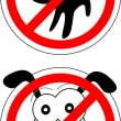 Stock Vector: Sign no cats and dog
