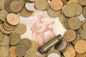 Dinero ruso y ucraniano. — Foto de Stock