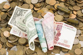 Russian, USA and Ukrainian money. — Foto de Stock