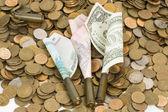 Russian, USA and Ukrainian money. — Stock Photo