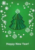 Zelený vánoční strom na zeleném pozadí — Stock vektor