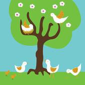 Birds under a tree — Stock Vector