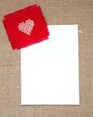 情人节卡与交叉缝合的心 — 图库照片
