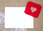 Valentine card with cross stitched heart — Stock Photo