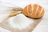 Flour, bread and wheat — Stock Photo