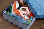 Skeins of colored embroidery thread in box — Stock Photo
