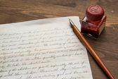 Old Letter and ink pen — Stock Photo