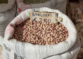 Fagioli borlotti - pinto beans in canvas sack — Stock Photo