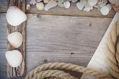 Marine background - seashells, rope and letter — Stock Photo