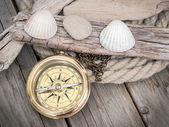 Exploring background with compass — Stock Photo