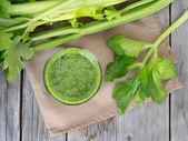 Fresh celery smoothie juice — Zdjęcie stockowe